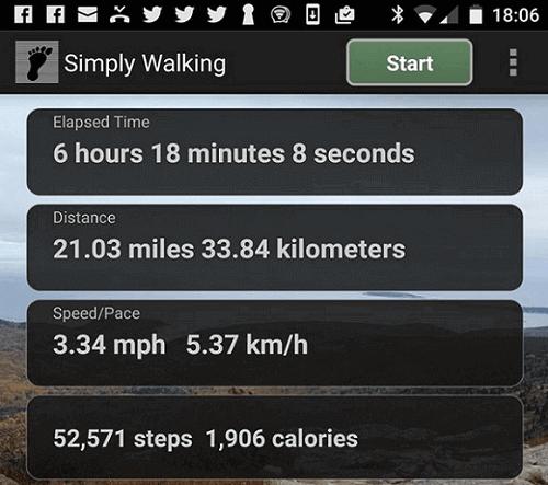 walking stats on app
