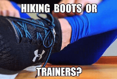 hiking boots or trainers