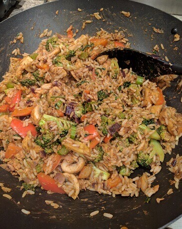 mixed veggie rice with pilchard