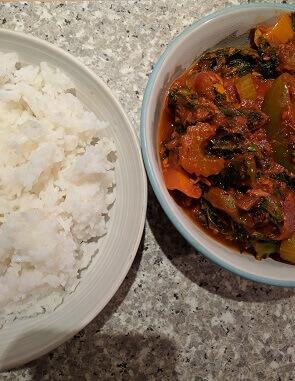veggie rice with kale sauce