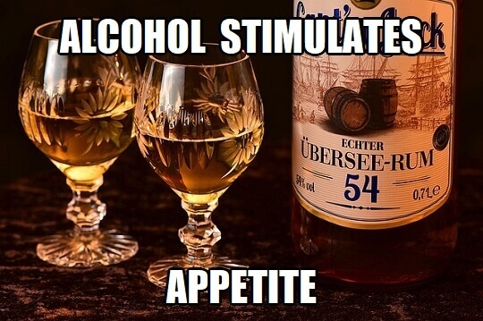 alcohol stimulates appetite